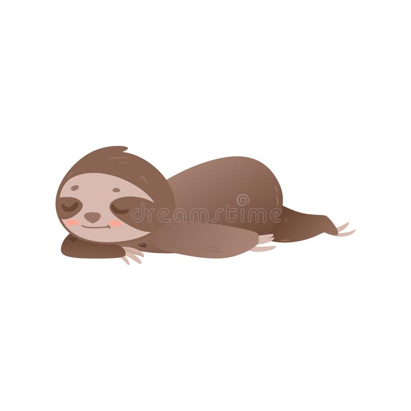Cute lazy sloth sleeping - adorable jungle animal laying on floor or ground and resting. stock illustration