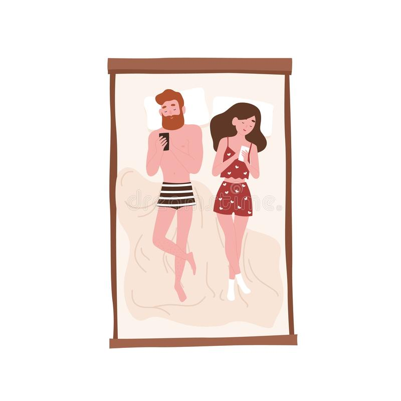 Cute lazy young man and woman lying on bed and surfing internet on their smartphones. Romantic partners spending time at. Home. Relaxation and recreation. Flat vector illustration