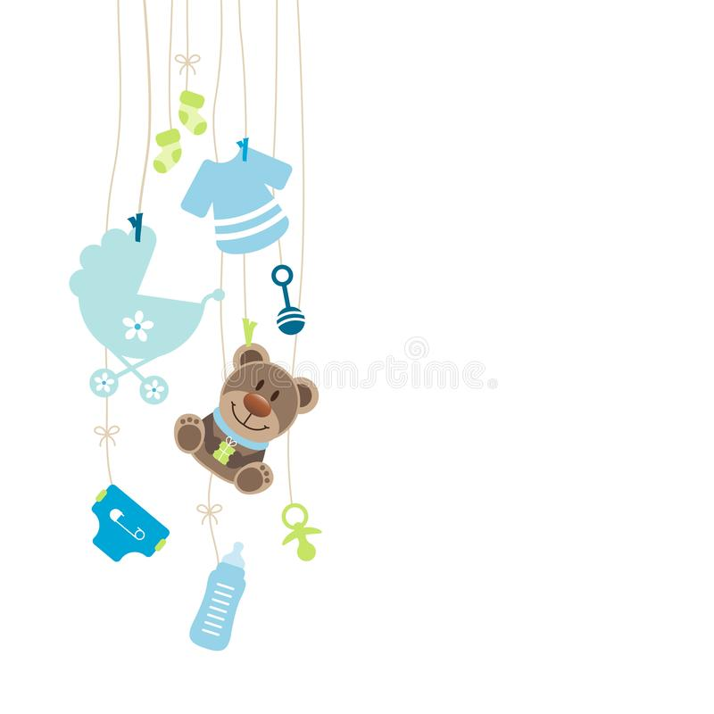 Left Hanging Baby Icons And Teddy Boy Bow Blue And Green stock illustration