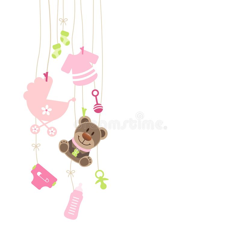 Left Hanging Baby Icons And Teddy Girl Bow Pink And Green stock illustration