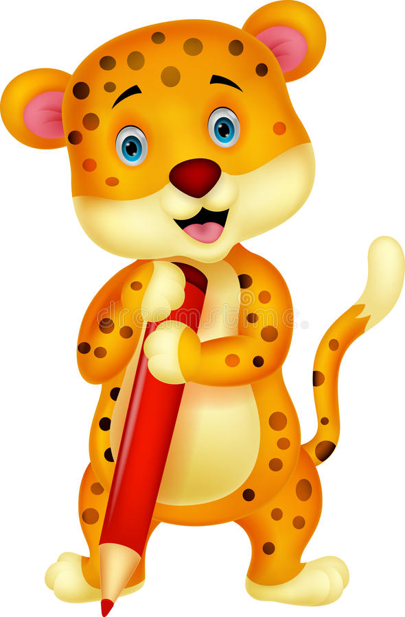 Cute leopard cartoon holding red pencil stock illustration