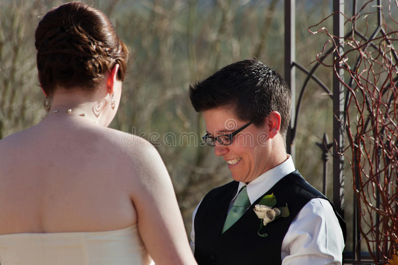 Cute Lesbian Civil Union stock photography