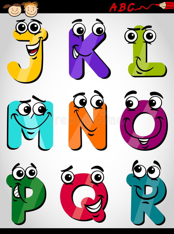 Cartoon Characters 9 Letters : Cute letters alphabet cartoon illustration stock vector
