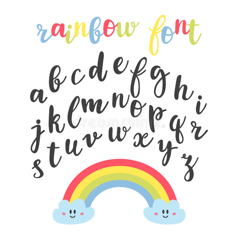 Cute letters. Hand drawn calligraphic font. Lettering alphabet. Rainbow font stock illustration