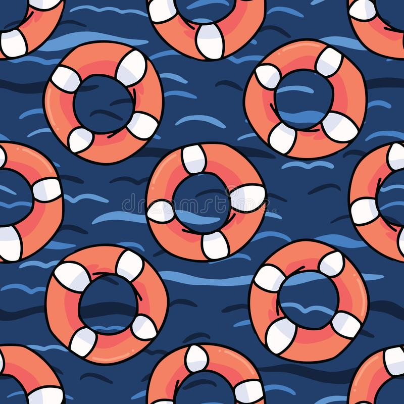 Cute lifering in the ocean cartoon seamless vector pattern vector illustration