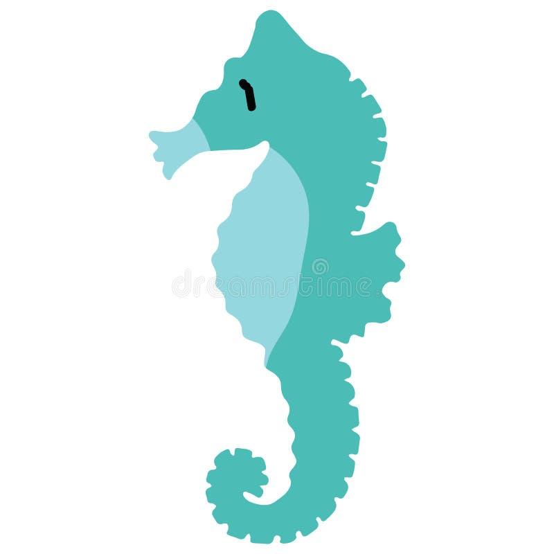 Cute light blue seahorse cartoon vector illustration motif set. Hand drawn isolated ocean animals elements clipart for nautical stock illustration