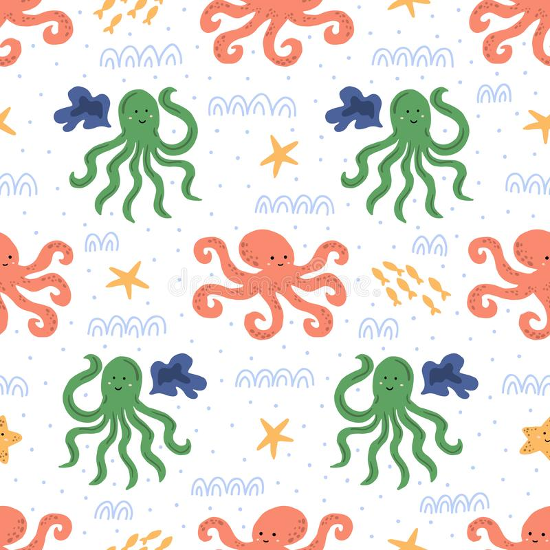 Cute light repeated ornament with octopus. Vector seamless pattern with cartoon underwater characters. stock photos
