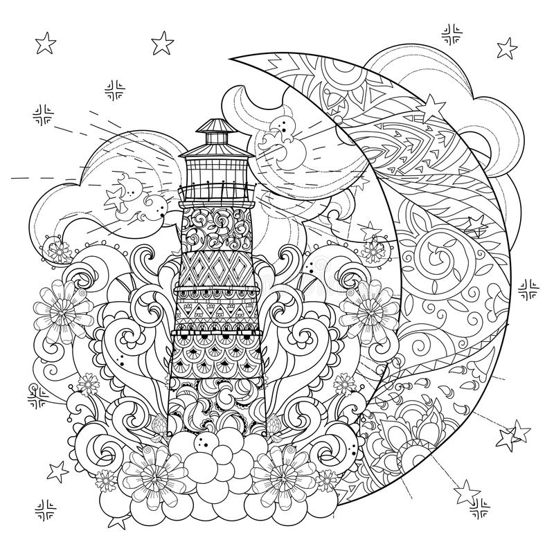 Cute Lighthouse On Christmas Half Moon Stock Vector ...