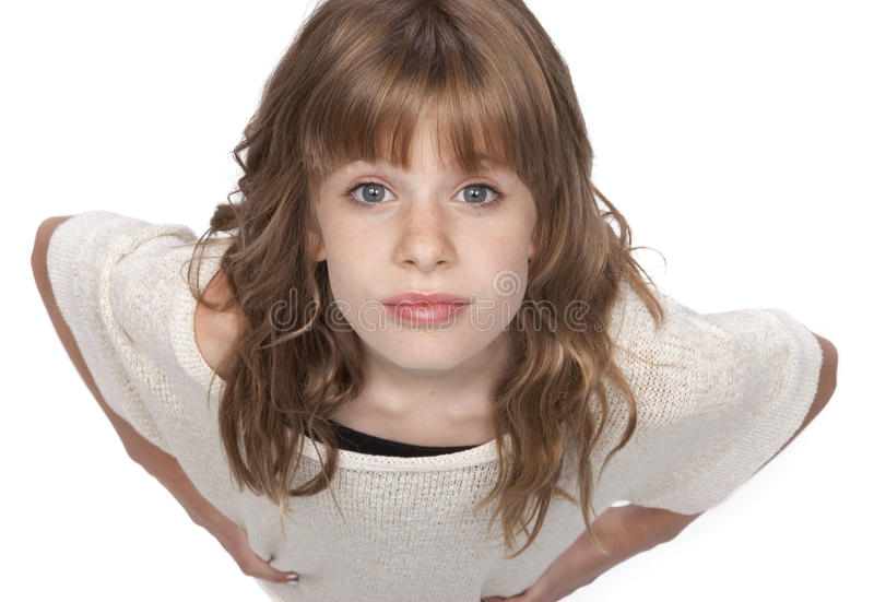 Cute Liitle Girl Looking Up royalty free stock photos