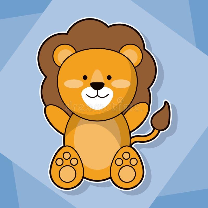 Cute lion baby animal cartoon image royalty free illustration