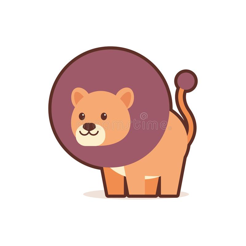 Cute lion cartoon comic character with smiling face happy emoji anime kawaii style funny animals for kids concept. Vector illustration vector illustration