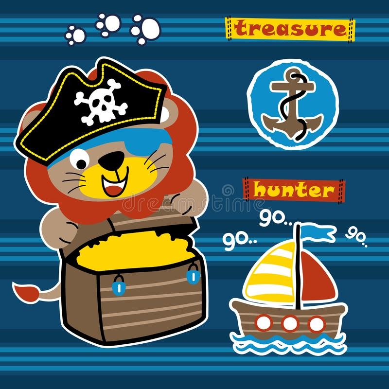 Cute lion cartoon the funny pirate vector illustration