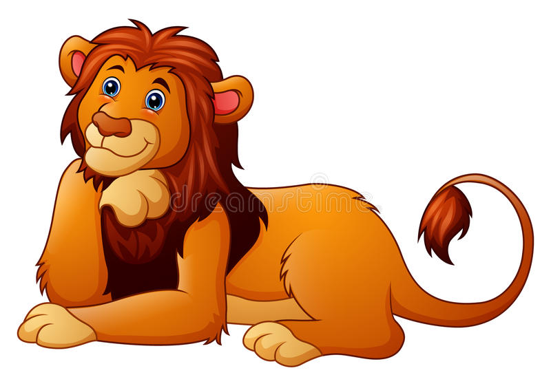 Cute lion cartoon royalty free illustration