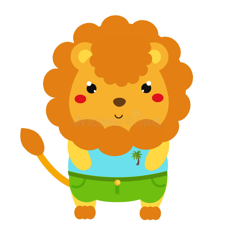 Cute lion. Cartoon kawaii animal character in clothes. Vector illustration for kids and babies fashion royalty free illustration