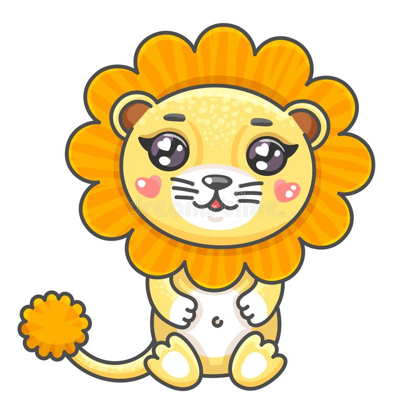 Cute lion cartoon vector illustration. Smiling baby animal lion in kawaii style isolated on white background. vector illustration