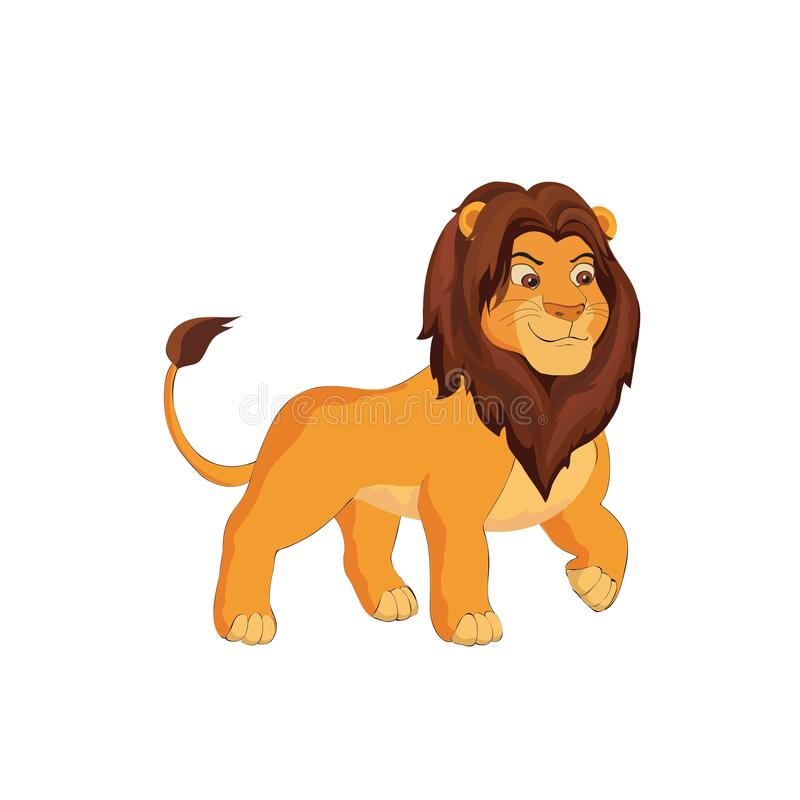 Cute lion cartoon on a white background. vector. Illustration royalty free illustration