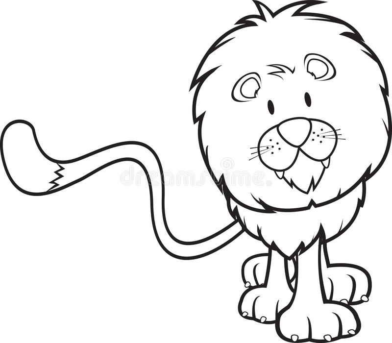 Cute lion coloring book stock vector. Illustration of character ...