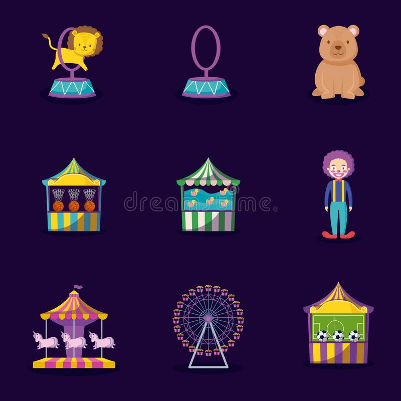 Cute lion with set icons circus stock illustration
