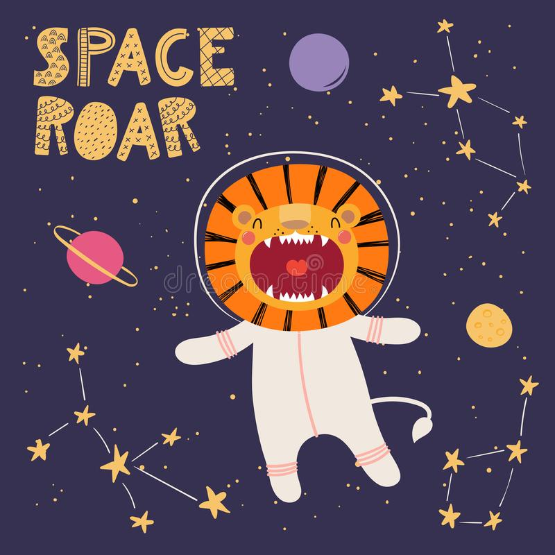 Cute lion in space vector illustration