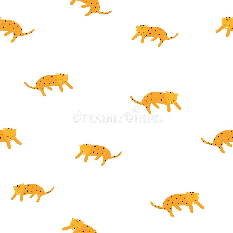 Cute leopard yellow and white seamless pattern. Vector hand drawn illustration. Nursery background for kids room stock illustration