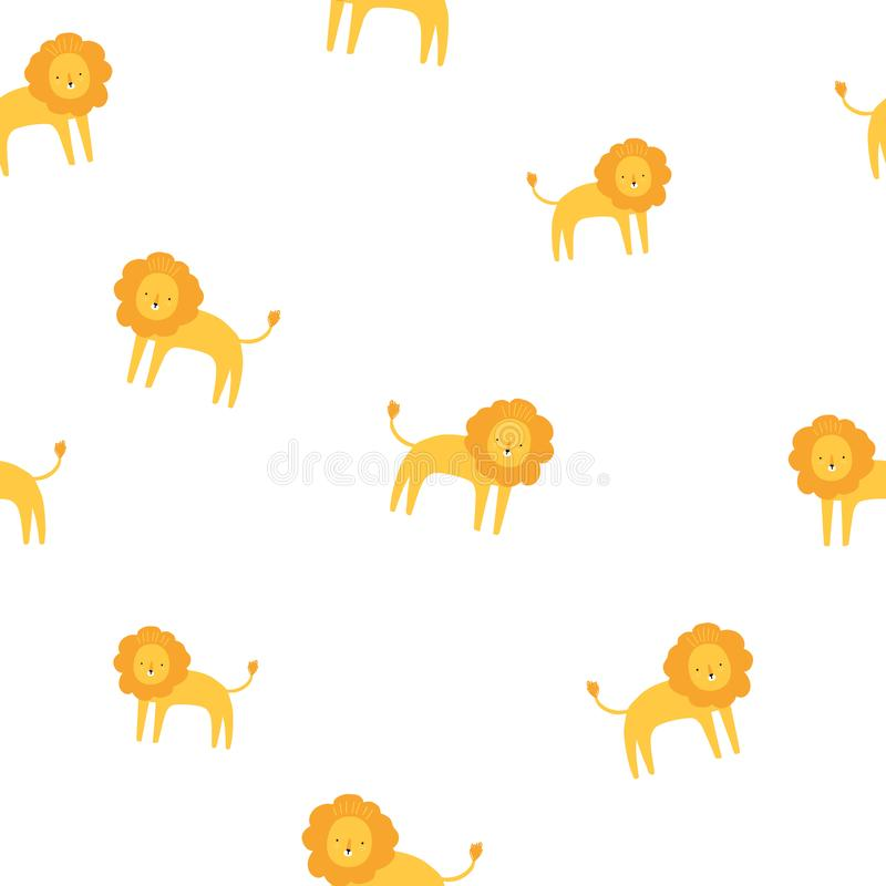 Cute lion yellow and white seamless pattern. Vector hand drawn illustration. Nursery background for kids room, clothes vector illustration