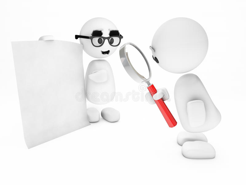 A cute little 3D guy inspects a suspicious sheet stock illustration