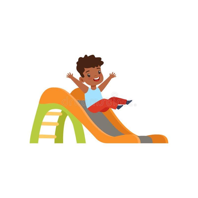 Cute little african american boy sliding down the slide, kid having fun on playground vector Illustration on a white. Cute little african american boy sliding stock illustration