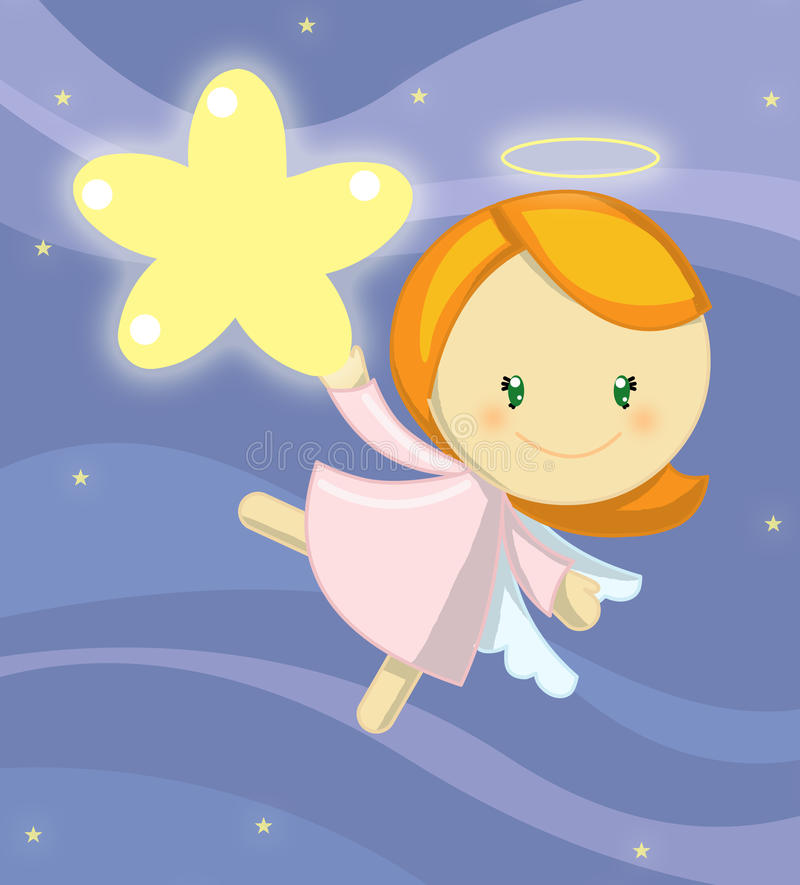 Cute little angel girl. Illustration about a cute little angel floating in the blue sky holding a bright giant star in a very starry night