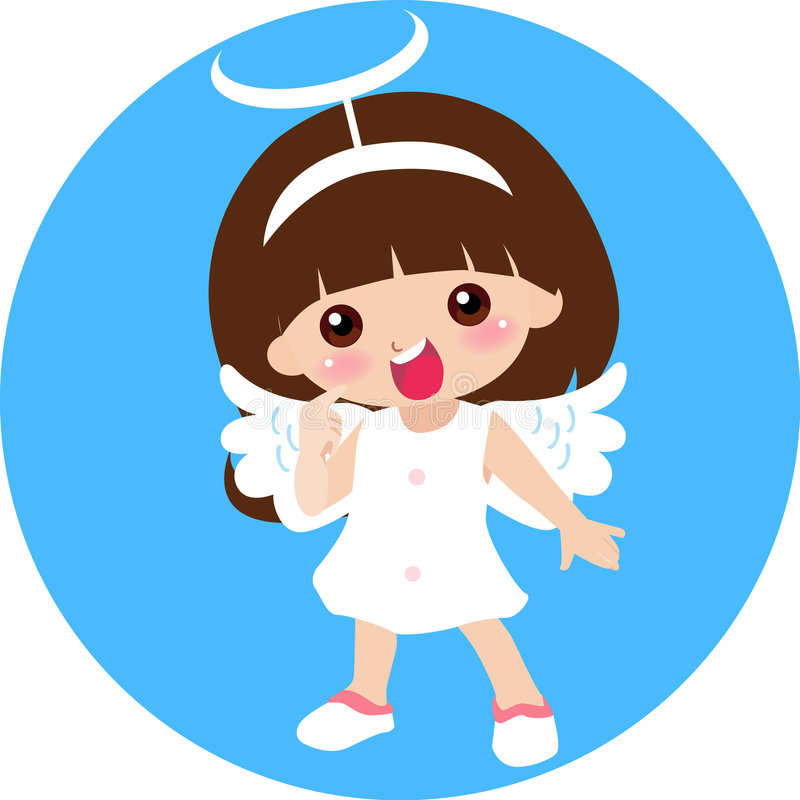 Download Cute little angel girl stock vector. Illustration of children - 7585646