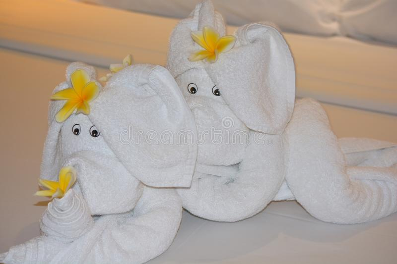 Elephant figures made from towels stock photography