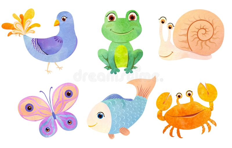 Cute little animals in flat paper style. Little animals in watercolor cartoon style. Cute crab, funny frog, blue fish, bright  butterfly, snail and decorative stock illustration