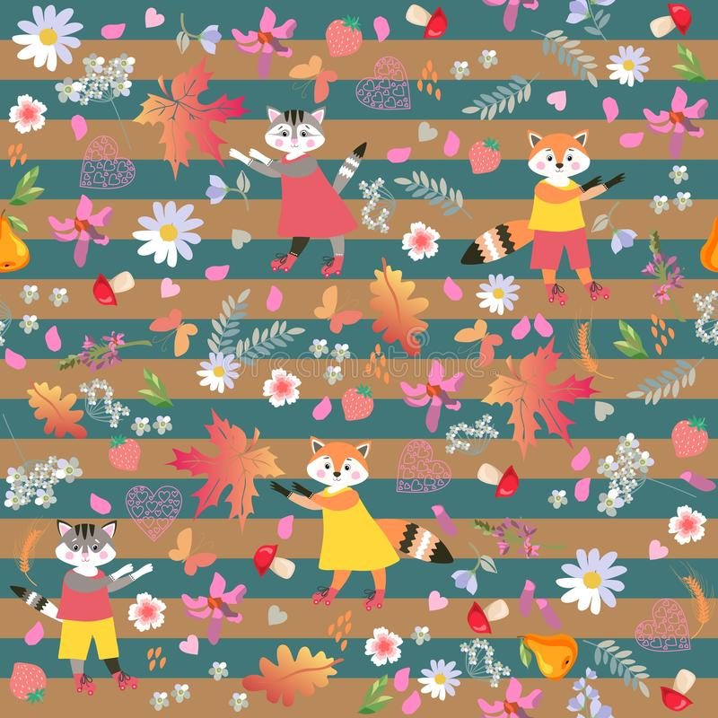 Cute little animals on striped background. Seamless vector pattern with funny foxes and cheerful cats. stock illustration