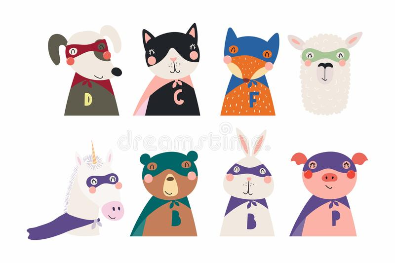 Cute little animals superheroes set royalty free illustration