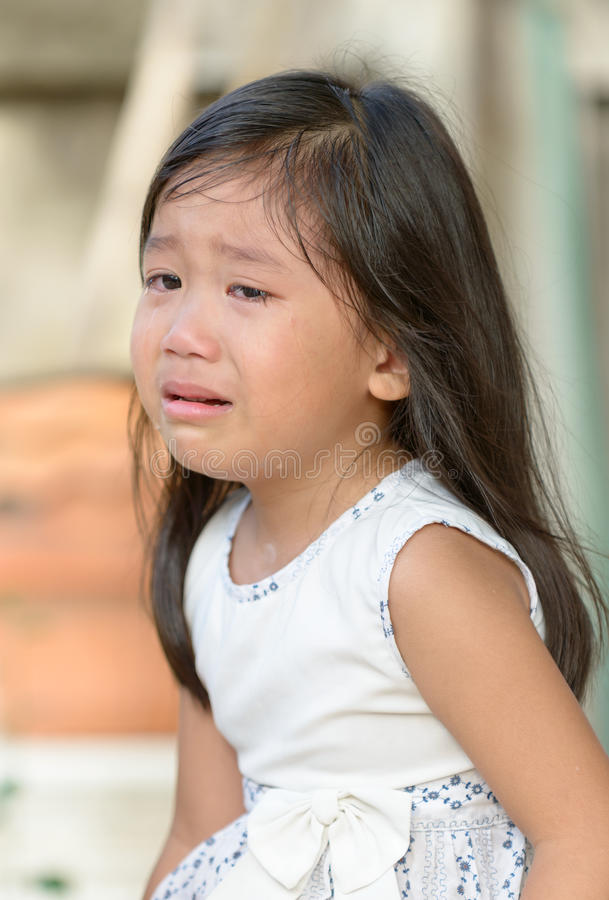 cute little asian girl crying stock image   image of