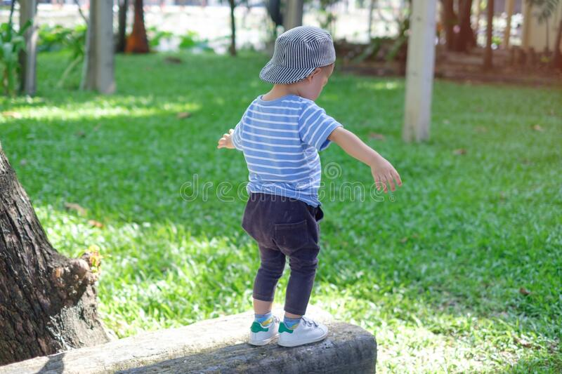 Cute little Asian 18 months / 1 year old toddler baby boy child walking on balance beam in the park on nature in summer,. Physical, Hand and Eye Coordination stock image
