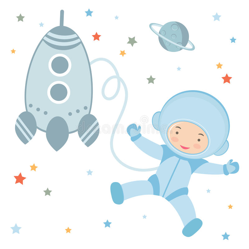 Cute little astronaut in outer space vector illustration