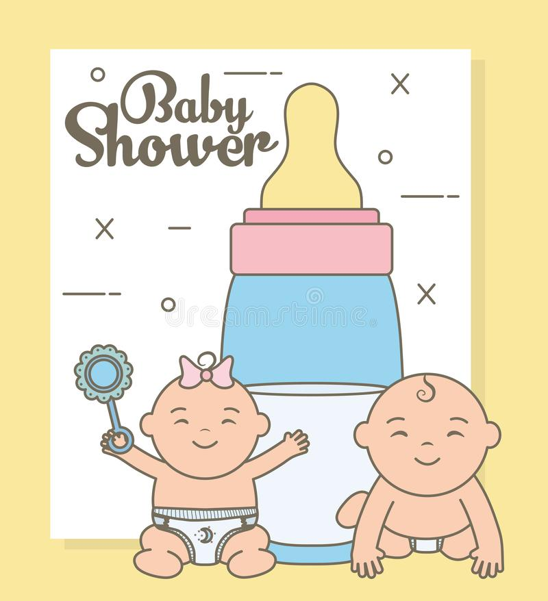 Cute little babies with bottle milk characters. Vector illustration design royalty free illustration