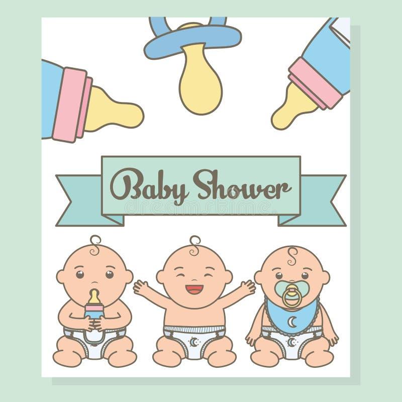 Cute little babies boys with bottle milk characters. Cute little babies boys with bottles milk characters vector illustration design vector illustration