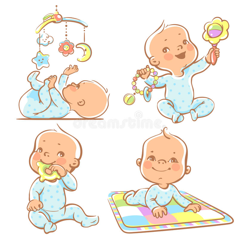 Cute little babies with different toys. Set of babies playing toys. First year games. Baby hold teething toy. Baby lay on developing play mat Baby look at vector illustration
