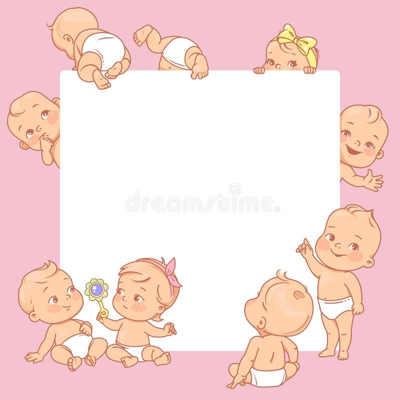 Cute little babies near blank text frame. Happy children in diapers stand, sit,crawl, sleep, waving hand. Kids holding white banner.  Active toddlers. Baby royalty free illustration