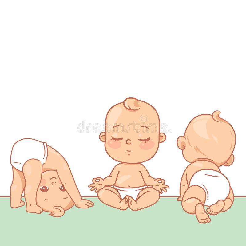 Cute little babies near blank text frame. Happy children in diapers stand, sit,crawl, sleep, waving hand. Kids holding white banner.  Active toddlers. Baby vector illustration