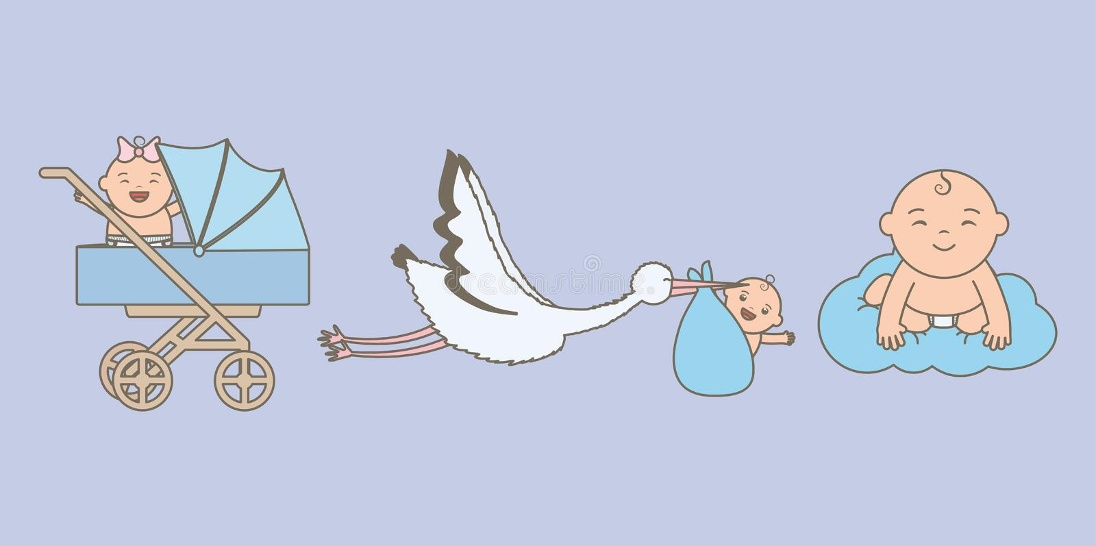 Cute little babies with stork and cart. Vector illustration design vector illustration