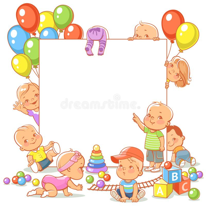 Baby girls and boys in play room. Cute little babies with toys near blank text frame. Happy children play, stand, sit, crawl, sleep, waving hand. Boys and girls stock illustration