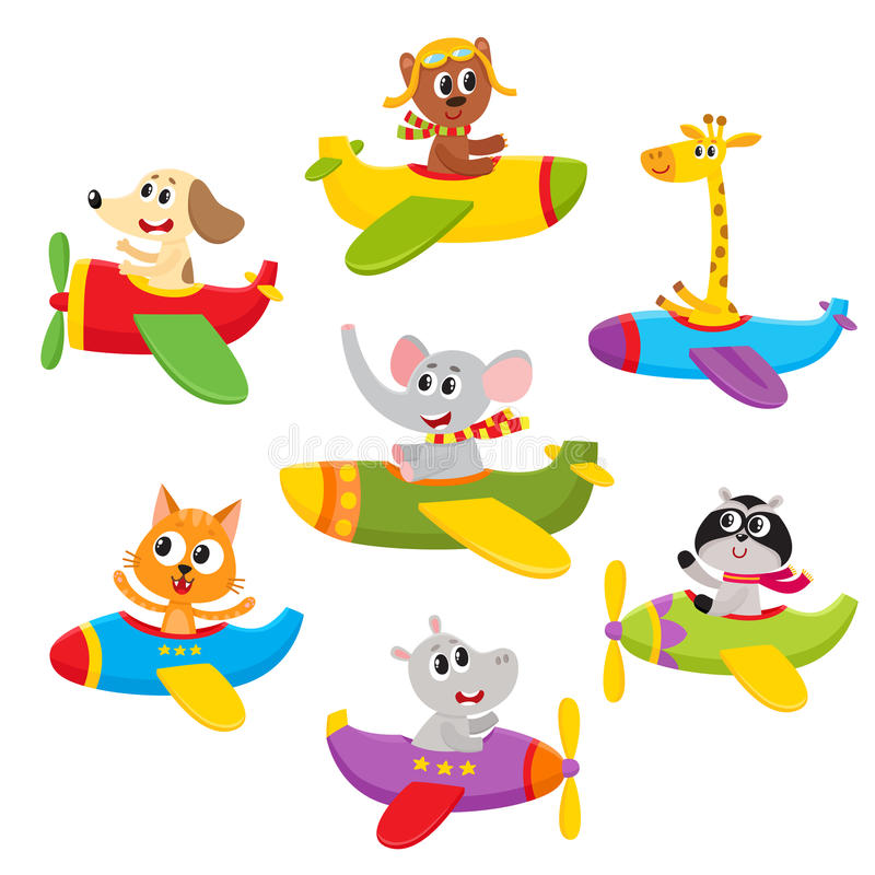 Cute little baby animal, pet characters flying on planes, airplanes, royalty free illustration