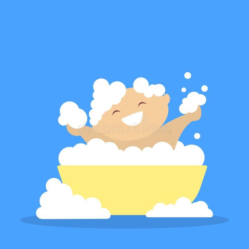 Cute little baby bathing. Child in soap foam royalty free illustration