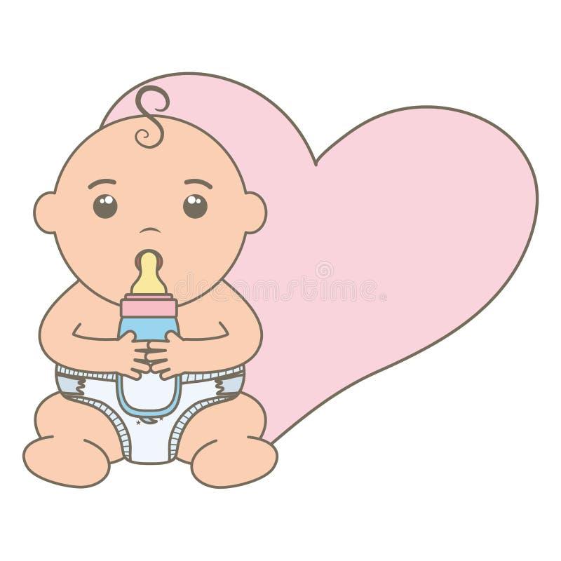 Cute little baby boy with bottle milk and heart. Vector illustration design stock illustration