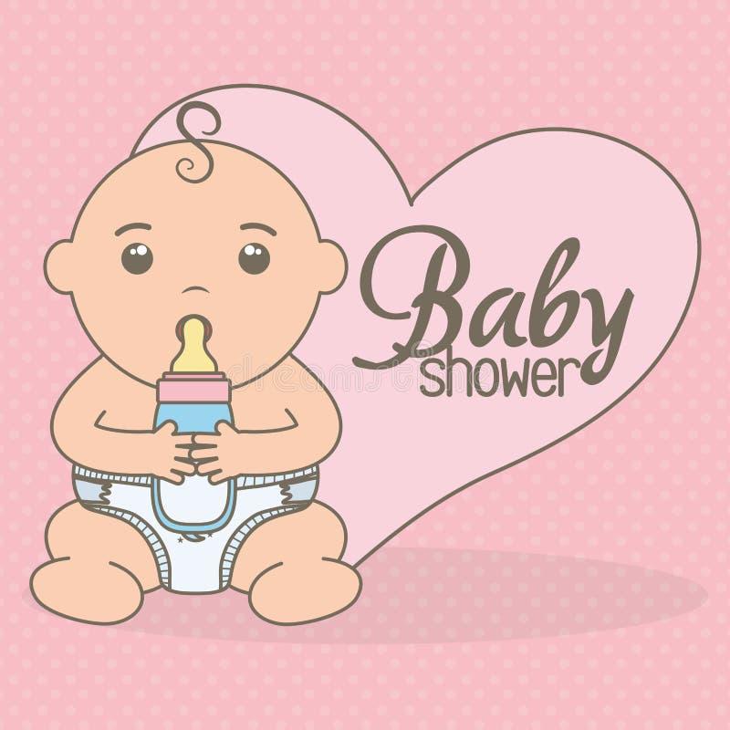 Cute little baby boy with bottle milk. Vector illustration design stock illustration