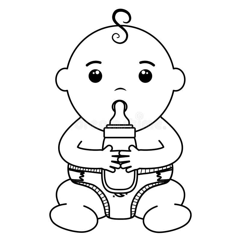 Cute little baby boy with bottle milk. Vector illustration design vector illustration