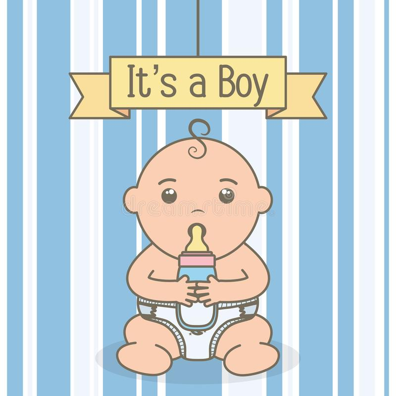 Cute little baby boy with bottle milk. Vector illustration design royalty free illustration