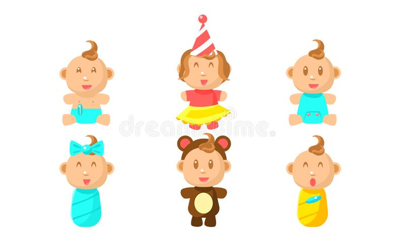 Cute Little Baby Character Set, Adorable Boy or Girl Daily Routine Vector Illustration stock illustration